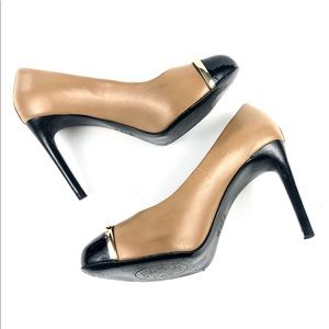 """Tory Burch Shoes - Tory Burch Camel & Black Patent Leather 4"""" Heels 7"""